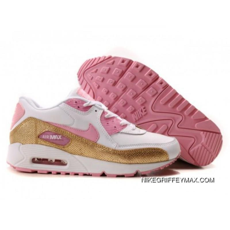 the latest b26ac 69719 Womens Nike Air Max 90 Pink White Gold New Release