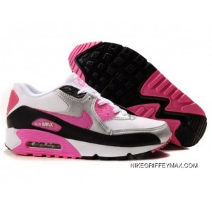 Womens Nike Air Max 90 White Silver Black Pink For Sale