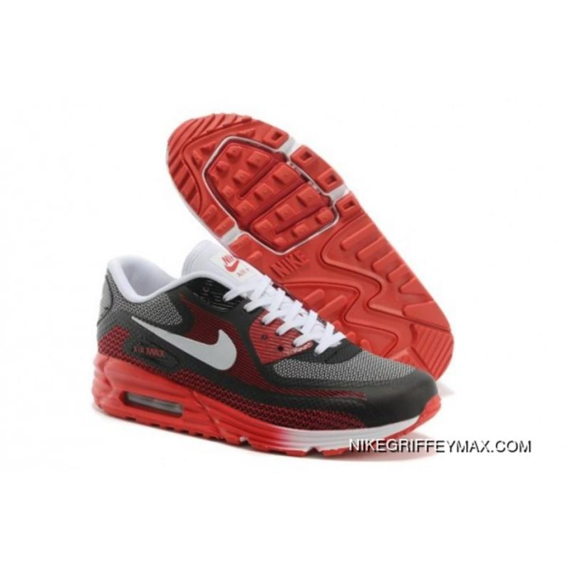 mode designer aec13 bdec5 Womens Nike Air Max Lunar 90 Black Red New Year Deals