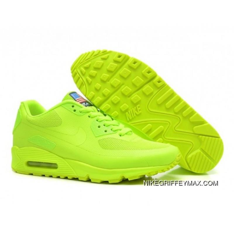 Discount Womens Nike Air Max 90 Hyperfuse Qs All Lemon Green