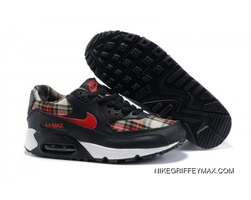 hot sale online 5a881 7ea04 New Year Deals Womens Nike Air Max 90 Black Red
